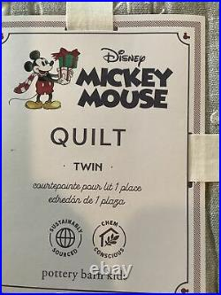 Pottery Barn Kids DISNEY MICKEY MOUSE HOLIDAY Twin Quilt. #1587