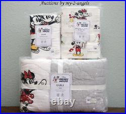 Pottery Barn Kids DISNEY MICKEY MOUSE HOLIDAY Twin Quilt Sham Sheet Set Minnie