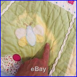 Pottery Barn Kids Darcie Twin Quilt Comforter Birds Cupcakes Pink Gingham