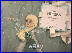 Pottery Barn Kids Disney Frozen Sateen Quilt Twin Aqua NEW