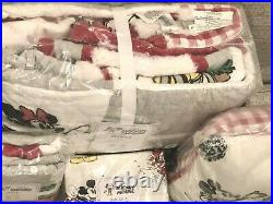 Pottery Barn Kids Disney Mickey Mouse Holiday Twin Quilt Sham Sheet Set Pillow