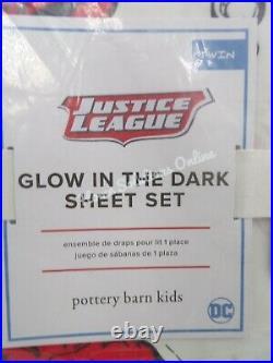 Pottery Barn Kids Glow in the Dark Justice League Superman Sheet Set Twin #G30