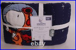 Pottery Barn Kids Glow in the Dark Snoopy twin quilt First Beagle on the Moon