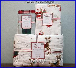 Pottery Barn Kids HERITAGE SANTA Twin Quilt + Sham + Organic Cotton Sheet Set