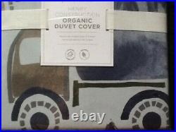Pottery Barn Kids Henry Construction Organic Duvet Cover Twin Blue New