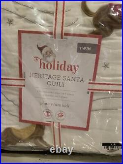 Pottery Barn Kids Heritage Santa Twin Quilt Sham Christmas Bedding Set New