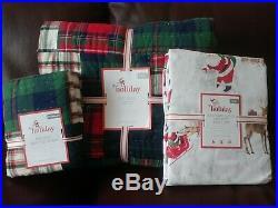 Pottery Barn Kids Holiday Madras Plaid Twin Quilt Standard Sham Sheet Christmas