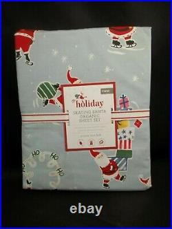 Pottery Barn Kids Holiday Skating Santa Percale Duvet Cover Twin #2220