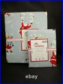 Pottery Barn Kids Holiday Skating Santa Percale Duvet Cover Twin Std Sham #2218