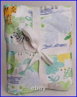 Pottery Barn Kids Jungle Safari twin sheet set sheets cotton percale, boys blue
