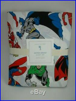 Pottery Barn Kids Justice League Sheet Set Batman Superman Twin #1812