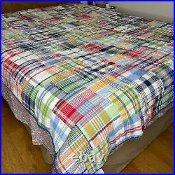 Pottery Barn Kids Madras Quilt Twin Size Multicolor Plaid Patchwork 86x68 PBK