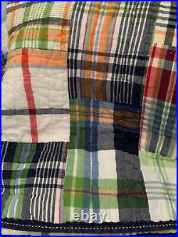 Pottery Barn Kids Navy BLUE Plaid MADRAS TWIN Quilt Bedroom Bed Reversible PerFt