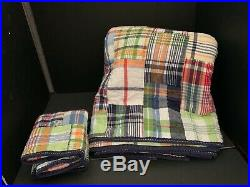 Pottery Barn Kids Navy BLUE Plaid MADRAS TWIN Quilt + Sham Bedroom Bed Reverse