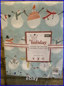 Pottery Barn Kids Organic Cheery Snowman twin Size sheet set blue Christmas New