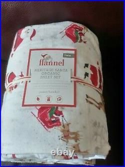 Pottery Barn Kids Organic Heritage Santa TWIN Flannel Sheet Set Christmas NEW