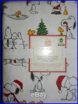 Pottery Barn Kids Organic Peanuts Snoopy Flannel Holiday Twin Sheet Set
