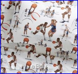 Pottery Barn Kids Organic Vintage Basketball Players Sports Sheets Set Twin