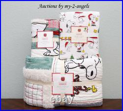 Pottery Barn Kids PEANUTS HOLIDAY Twin Quilt + Sham + Sheet Bedding Set Snoopy