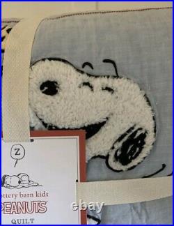 Pottery Barn Kids PEANUTS SNOOPY Twin Quilt + Standard Sham Set Woodstock NWT