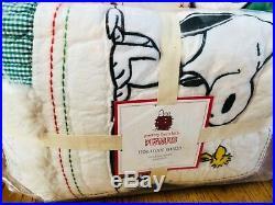 Pottery Barn Kids Peanuts Quilt Sheet Set Sham Snoopy Pillow Christmas Holiday