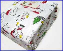 Pottery Barn Kids Peanuts Snoopy Wood Stock Flannel Cotton Twin Sheet Set New