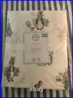 Pottery Barn Kids Peter Rabbit Twin Organic Sheet Set NEW Spring Easter Potter