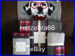 Pottery Barn Kids Plaid Patchwork Twin Quilt Shams Dalmatian Dog Sham NEW Red 4P