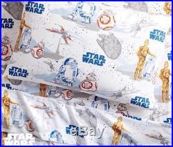 Pottery Barn Kids STAR WARS DROID Twin Sheet Set & 2 Pillow Cases BNIP