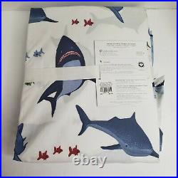 Pottery Barn Kids Shark Bite Twin 3pc Organic Sheet Set Ocean Nautical