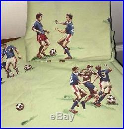 Pottery Barn Kids Soccer TWIN Duvet+Pillow Sham Green 100% Cotton Team Sports