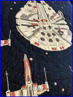 Pottery Barn Kids Star Wars Millennium Falcon Twin Quilt, Sham, Twin Sheet Set