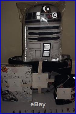 Pottery Barn Kids Star Wars Millennium Falcon twin quilt, sham, sheet set & R2D2