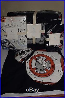 Pottery Barn Kids Star Wars Millennium Falcon twin quilt sham sheet set & pillow