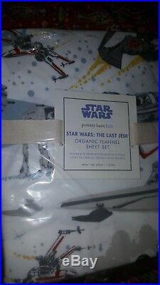 Pottery Barn Kids Star Wars The Last Jedi Flannel Sheet Set, Twin, New