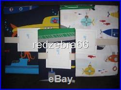 Pottery Barn Kids Submarine Twin Duvet Sham Sheet Set 5-pc Blue NEW Summer Shark