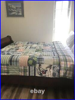 Pottery Barn Kids Surf Vibes Twin Size Quilt Island Madras Reversible Boy's EUC