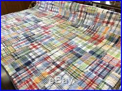 Pottery Barn Kids TWIN Size MADRAS Plaid Patchwork Quilt (RF856)