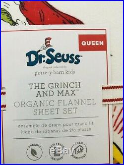 Pottery Barn Kids The Grinch & Max Cotton Queen Sheet Set Flannel Christmas