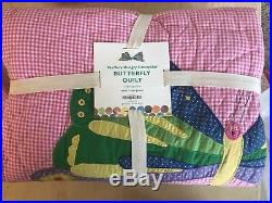 Pottery Barn Kids The Very Hungry Caterpillar butterfly twin Quilt 1 sham pink