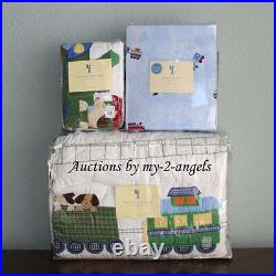 Pottery Barn Kids Train Junction Dog Puppy Twin Quilt+Sham+Sheet Set Christmas