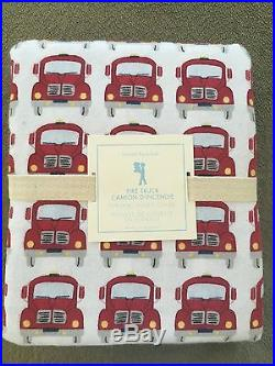 Pottery Barn Kids Twin Flannel Fire truck Duvet Cover NWT