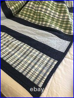 Pottery Barn Kids Twin Quilt Set & 1 Sham Stripes Gingham Blue Reversible 72x92