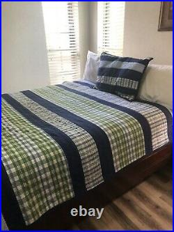Pottery Barn Kids Twin Quilt Set 1Sham Stripes Gingham Blue Reversible 72x92 #1