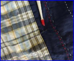 Pottery Barn Kids Twin Quilt Set 1Sham Stripes Gingham Blue Reversible 72x92 #2