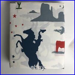 Pottery Barn Kids Twin Sheet Set Dylan Cowboy Western Cotton New