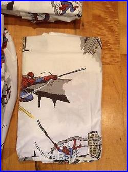 Pottery Barn Kids Twin Spiderman DC Comic 3 Piece Sheet Set with Pillowcase RARE