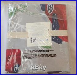 Pottery Barn Kids VINTAGE CARS red blue gray TWIN duvet cover sham print sheets