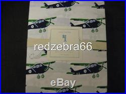 Pottery Barn Kids Vintage Airplanes Twin Sheet Set 3-pc Green NEW