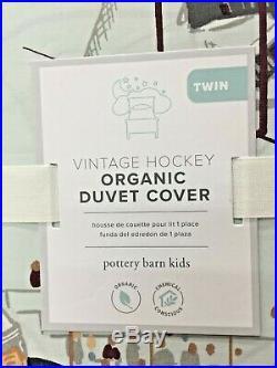 Pottery Barn Kids Vintage Hockey Organic Duvet Cover, TWIN, NEW